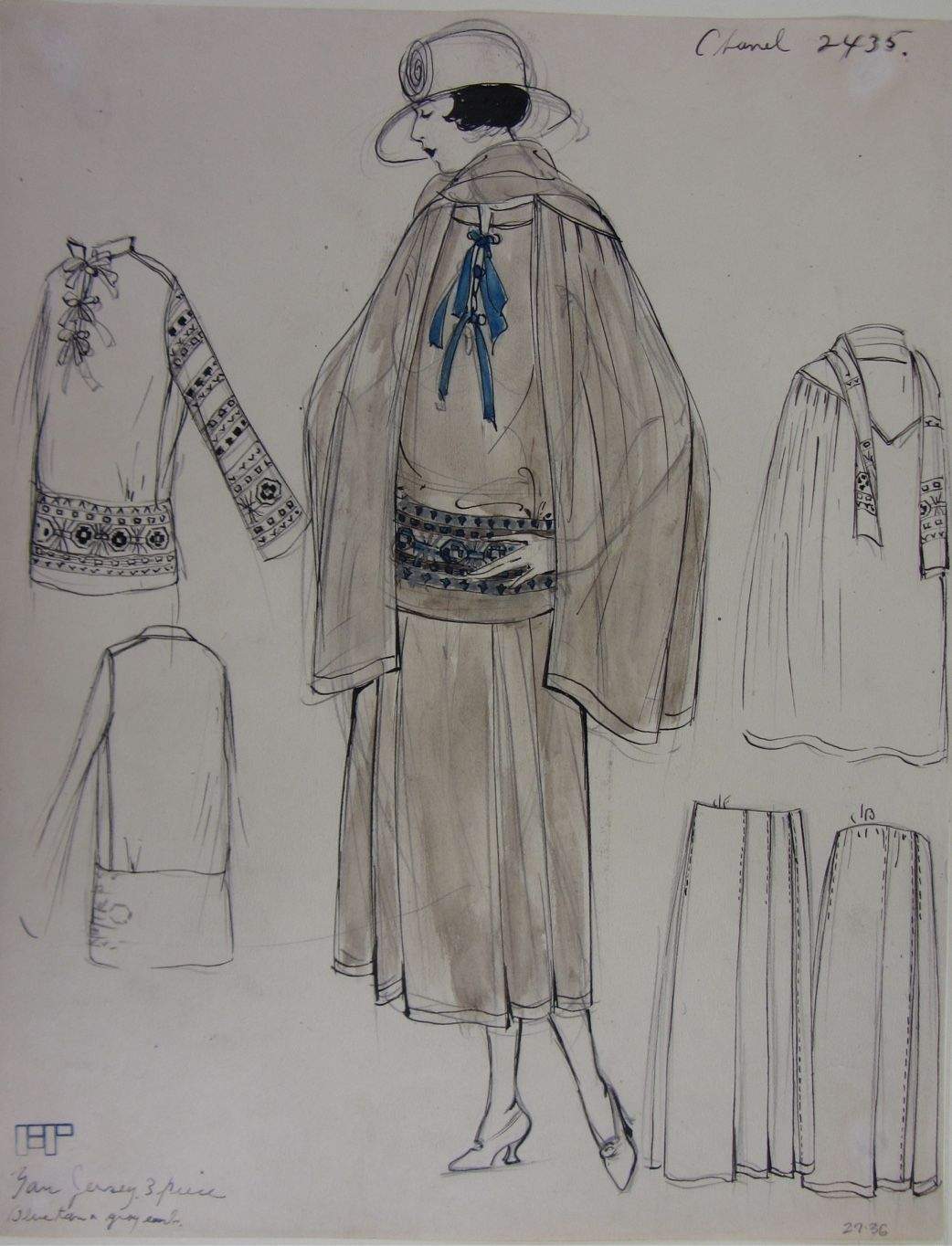Drawing of a CHANEL haute couture outfit with traditional Russian embroideries