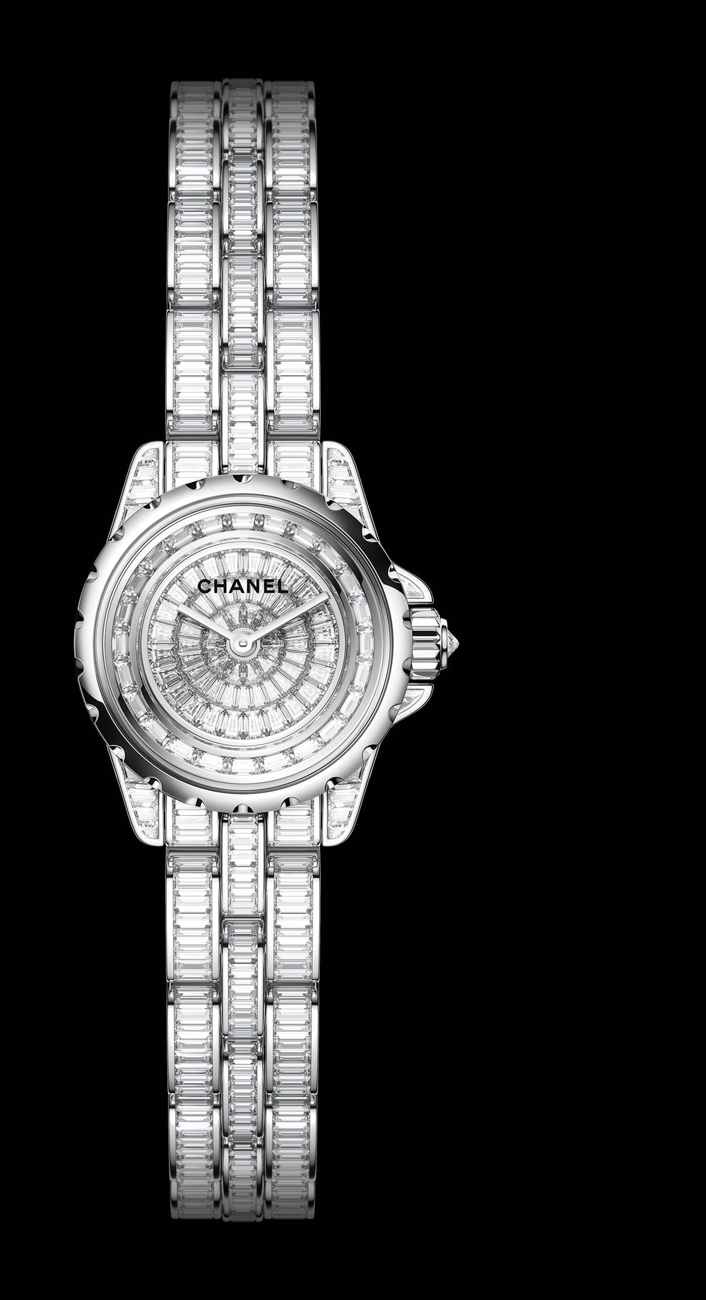 J12 High Jewelry in white gold, case, dial, bezel and bracelet set with baguette-cut diamonds and cognac sapphires. - Enlarged view