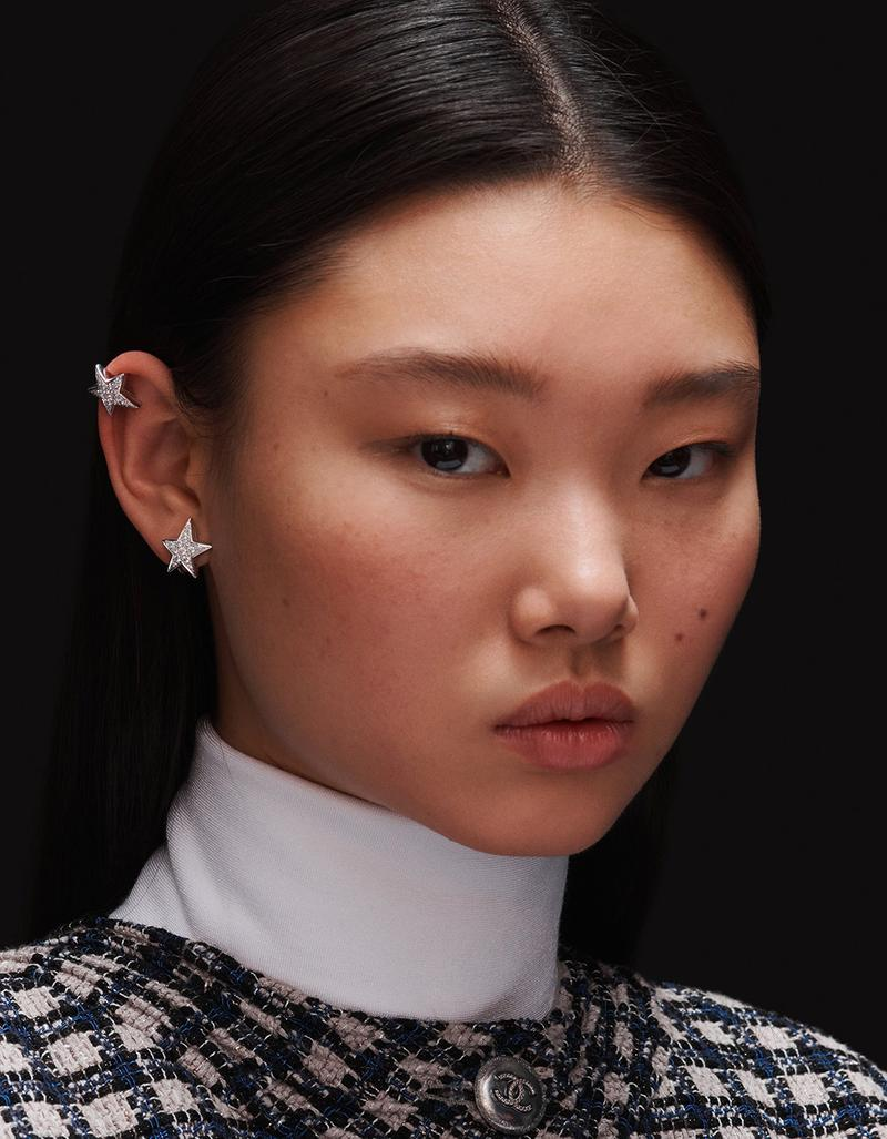 model with two COMÈTE GÉODE earrings in gold and diamonds look 4 option 2