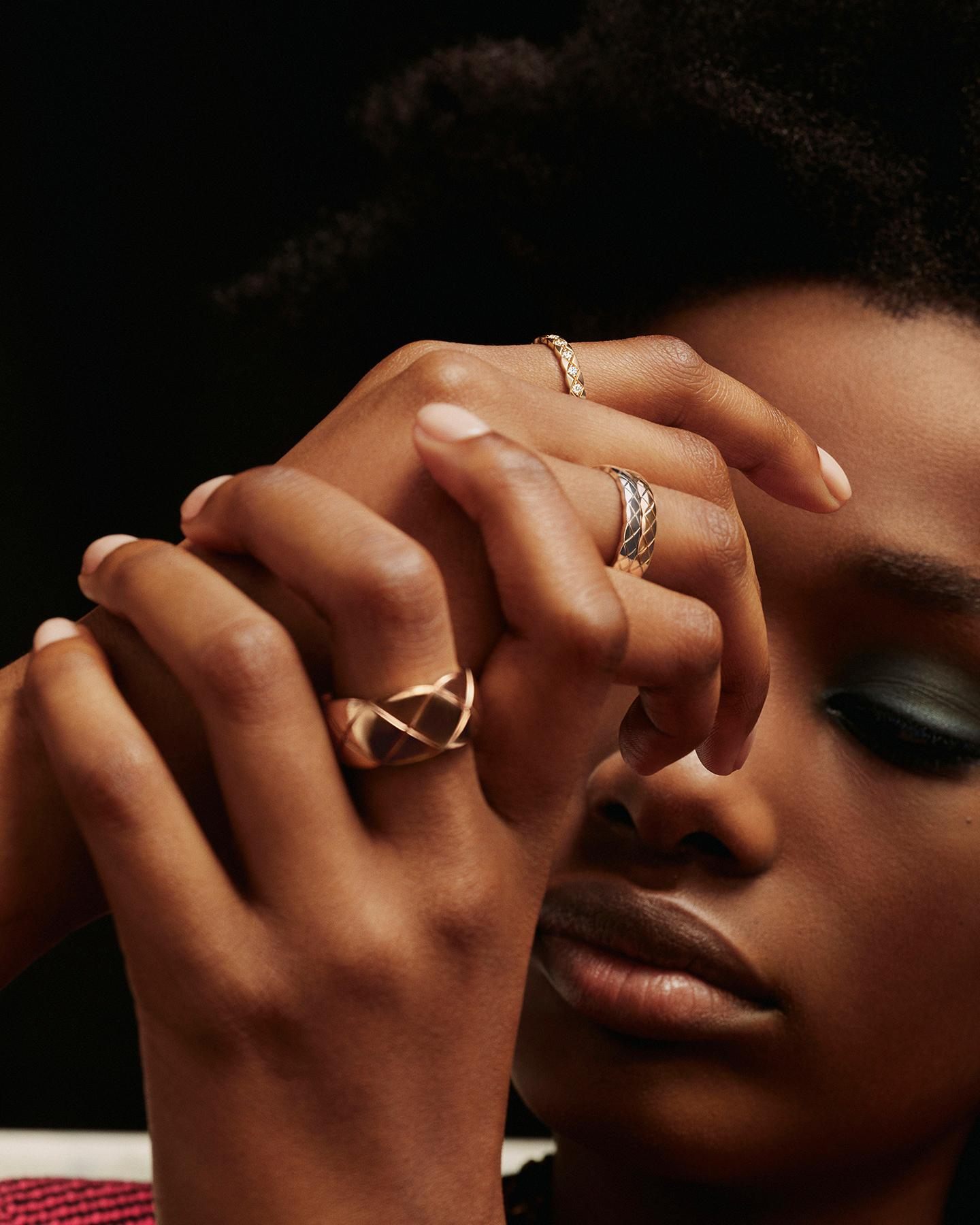 model wearing the COCO CRUSH rings