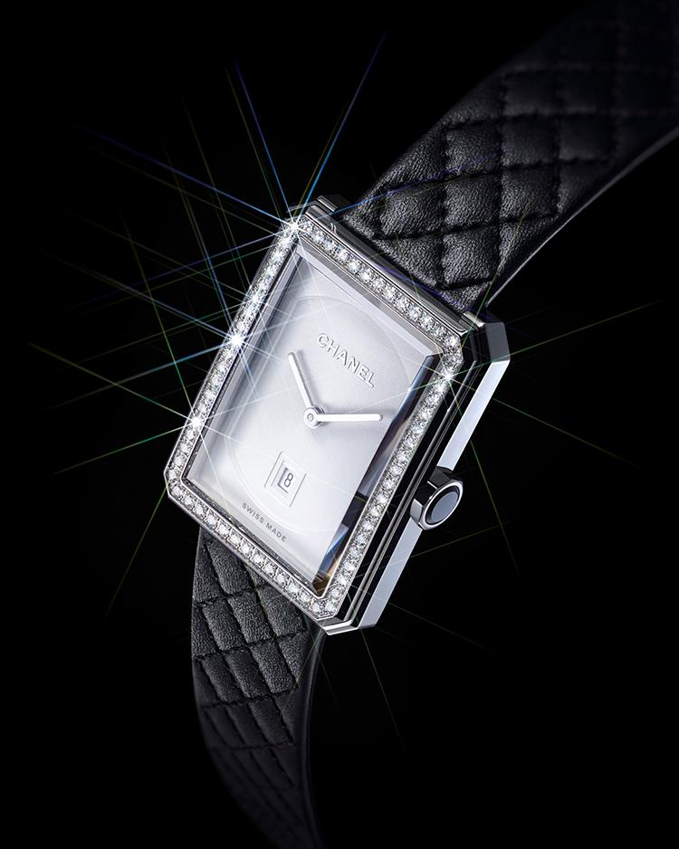 BOY·FRIEND watch with a gem-set dial and quilted black leather strap