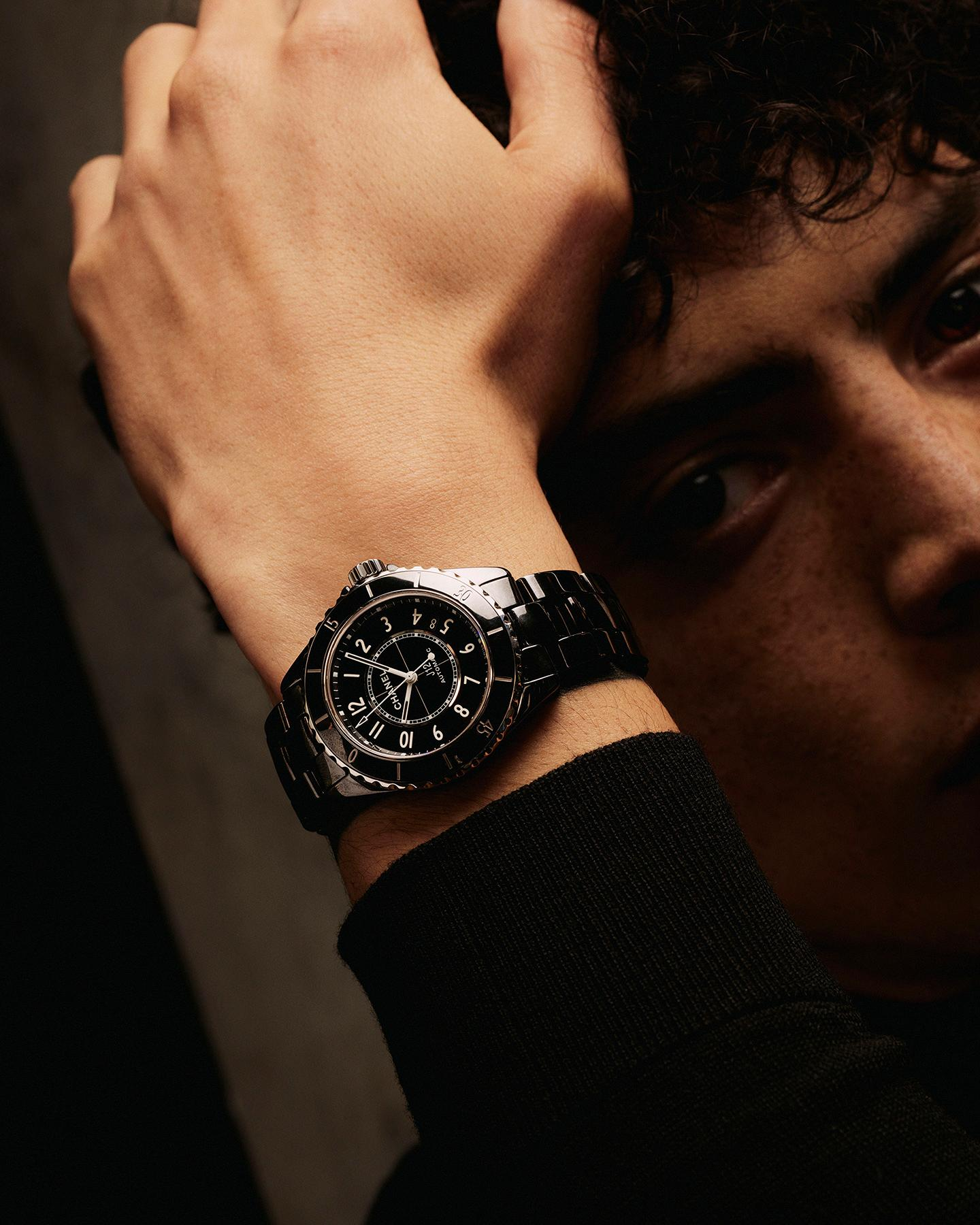 model wearing the J12 Black watch