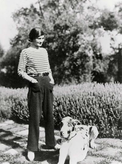Gabrielle Chanel and her dog Gigot at La Pausa, 1930
