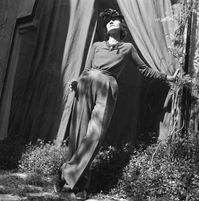 "Gabrielle Chanel in the garden of her ""La Pausa"" villa, 1938 \u000d\u000a\u000d\u000a"