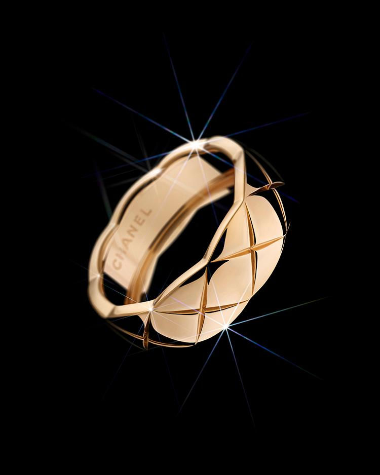 COCO CRUSH Ring aus BEIGEGOLD