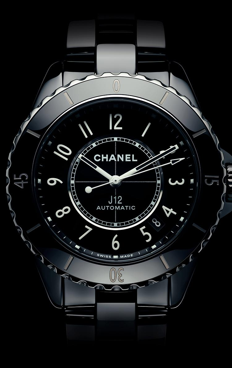 Enlarged view of the black J12 watch dial