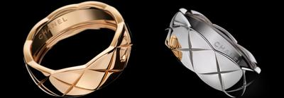 COCO CRUSH rings in 18K BEIGE GOLD and white gold*.<br><br>*White gold with a thin layer of Rhodium plating for color.