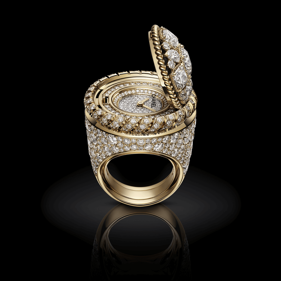 H7071 Mademoiselle Privé Bouton ring open view