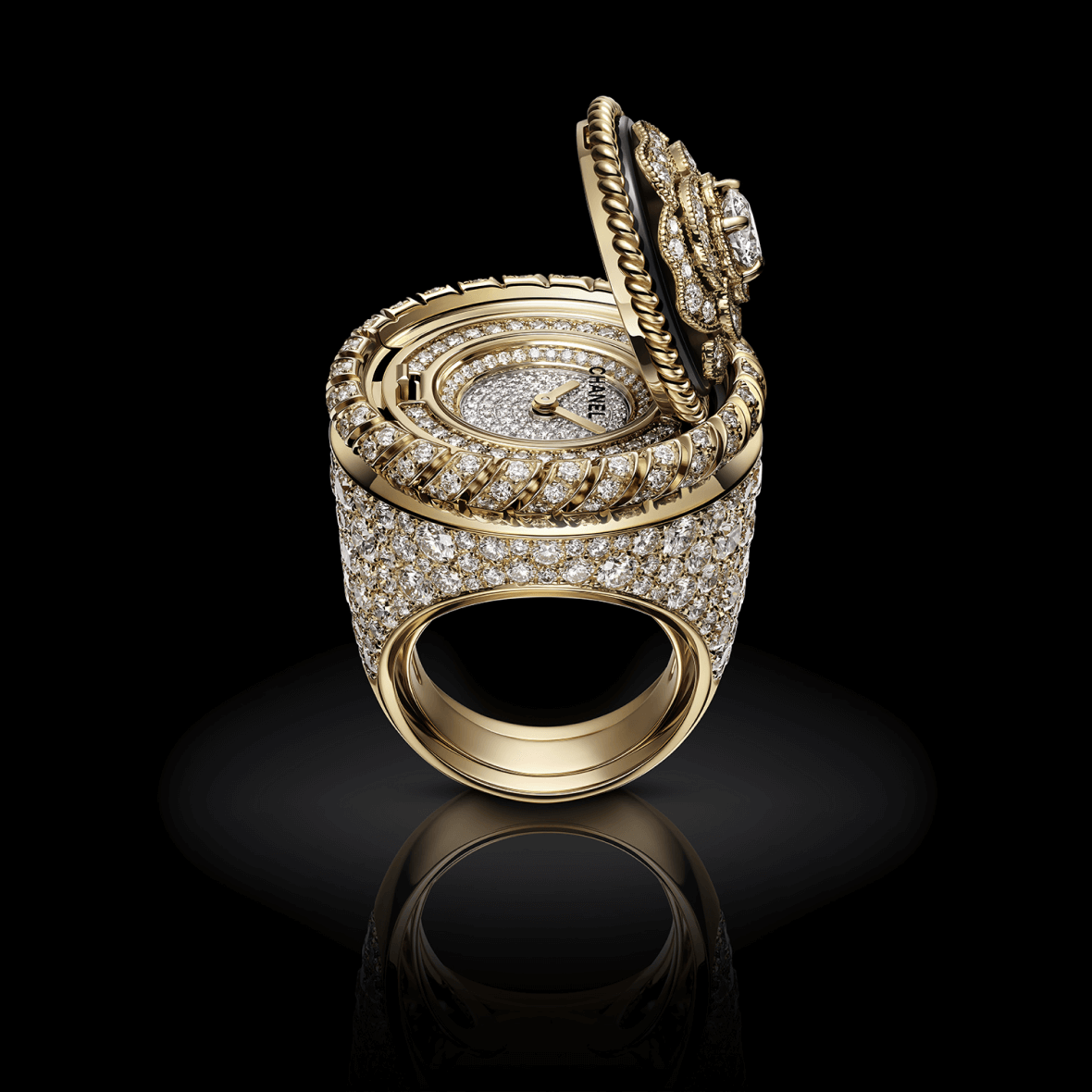 H7073 Mademoiselle Privé Bouton ring open view