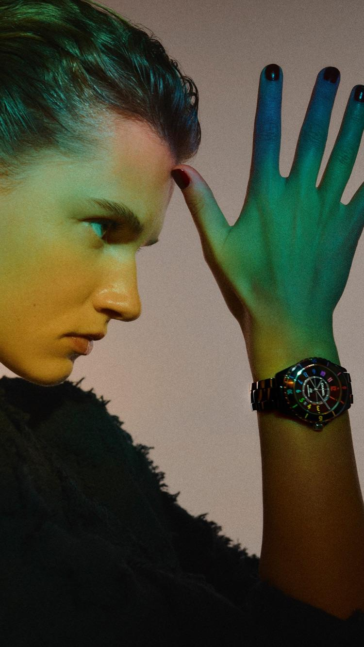 Giedre wears a J12 watch from the CHANEL ELECTRO Capsule Collection.